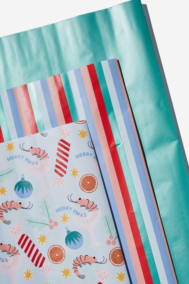 Kids Gift Wrap 3Pack, PRAWN COCKTAIL CHRISTMAS