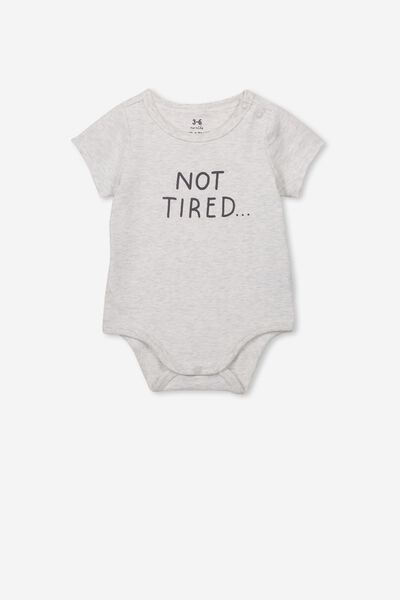 The Short Sleeve Bubbysuit, SOFT GREY MARLE/NOT TIRED