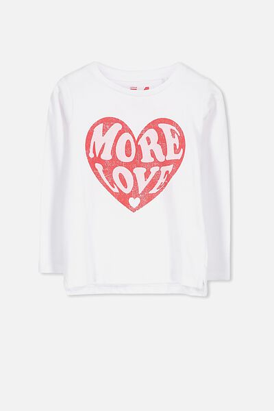 Penelope Long Sleeve Tee, WHITE/MORE LOVE/SET IN
