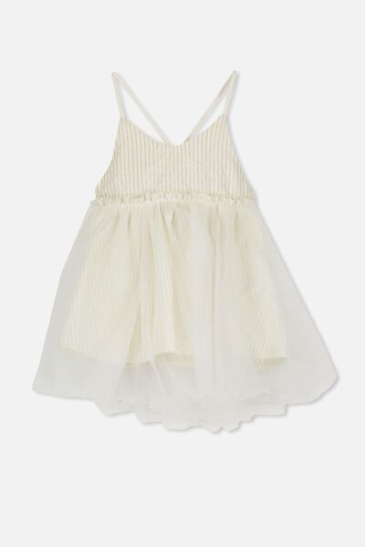 Isadora Dress Up, VANILLA/CHAMPAGNE FOIL STRIPE
