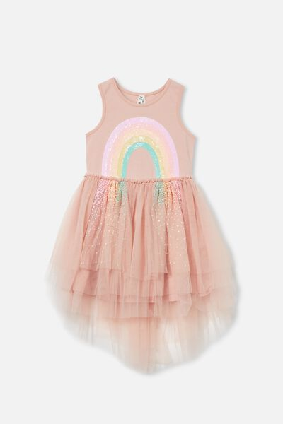 Iris Dress Up Dress, DUSTY PINK/RAINBOW