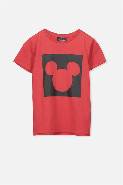 Short Sleeve License Tee, BONFIRE RED/SQUARE MICKEY