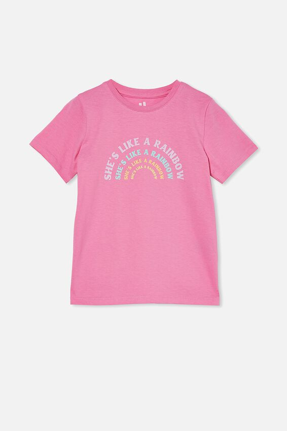 Penelope Short Sleeve Tee, PINK GERBERA/ SHE S A RAINBOW