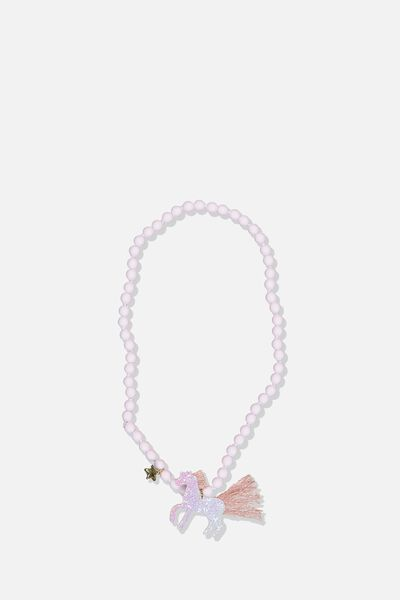 Mixed Beaded Necklace, GLITTER UNICORN