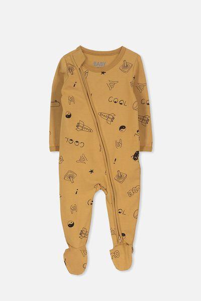 Sleep Mini Zip All In One Jumpsuit, BURNT BISCUIT/COOL ELEMENTS