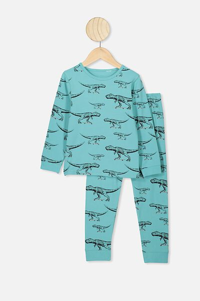 Orlando Long Sleeve Pj Set, BALTIC SEA/SKATEBOARD DINO
