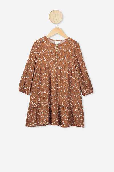Ebony Long Sleeve Dress, AMBER BROWN/SPRIGGY FLORAL