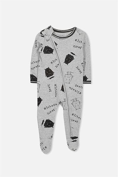 Sleep Mini Zip All In One Jumpsuit, LIGHT GREY MARLE/SKATE MONSTER