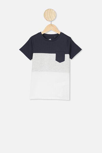 Louis Short Sleeve Texture Tee, NAVY SPLICE