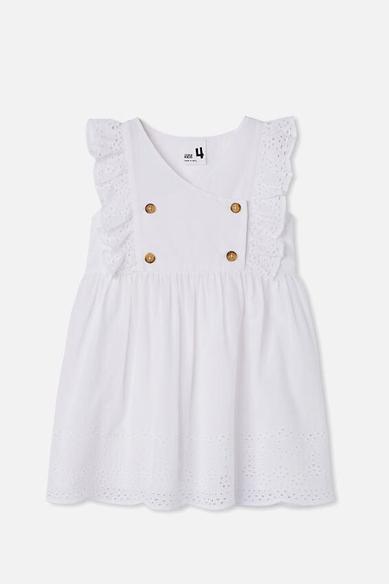 Gretchen Sleeveless Dress, WHITE