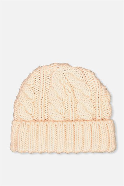 Winter Knit Beanie, CARNATION PINK CABLE