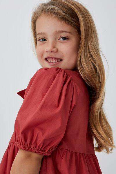 Jamala Short Sleeve Dress, RED BRICK