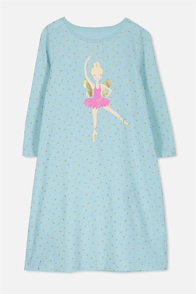 Laura Long Sleeve Long Nightie, FAIRY BALLERINA