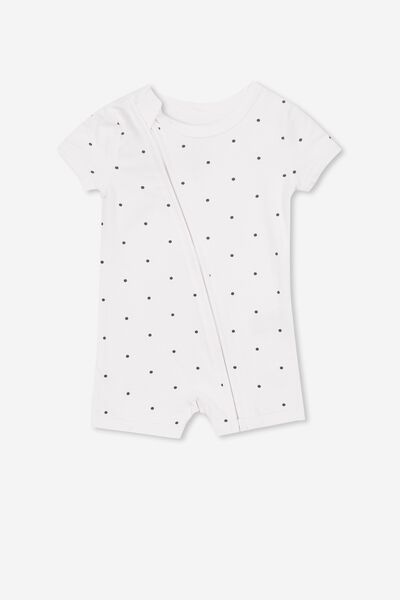 Mini Ss Zip Through Romper, WHITE/INDIAN INK MINI SPOT