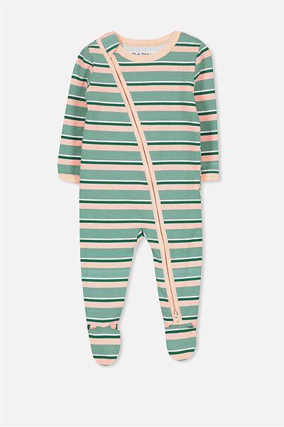 Sleep Mini Zip All In One Jumpsuit, BERYLN GREEN/FOIL STRIPE