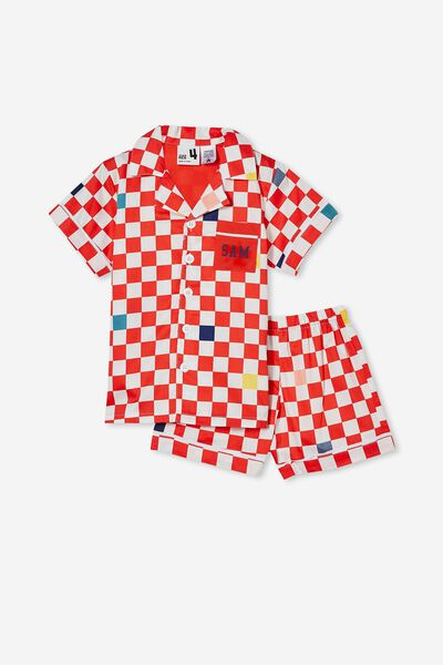 Riley Short Sleeve Pyjama Set Personalised, XMAS JOY GINGHAM/RED ORANGE