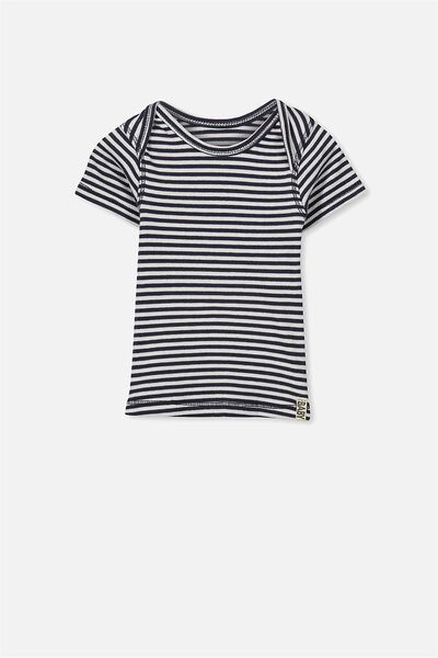 Mini Short Sleeve Rib Tee, INDIAN INK/VANILLA STRIPE