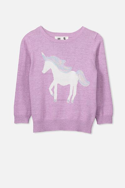 Phoebe Knit Jumper, SWEET LILAC MARLE/UNICORN