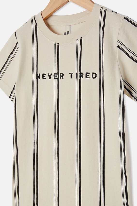 The Cruz Short Sleeve Long Line Tee Stripe, RAINY DAY / NEVER TIRED