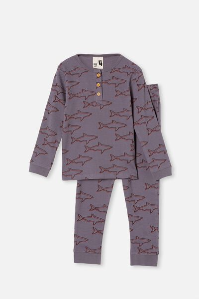 Ryan Waffle Long Sleeve Pyjama Set, SHARKS STEEL
