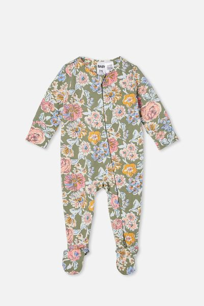 The Long Sleeve Zip Romper, SILVER SAGE/MATILDA FLORAL