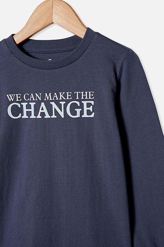Tom Long Sleeve Tee, NAVY/WE CAN MAKE THE CHANGE