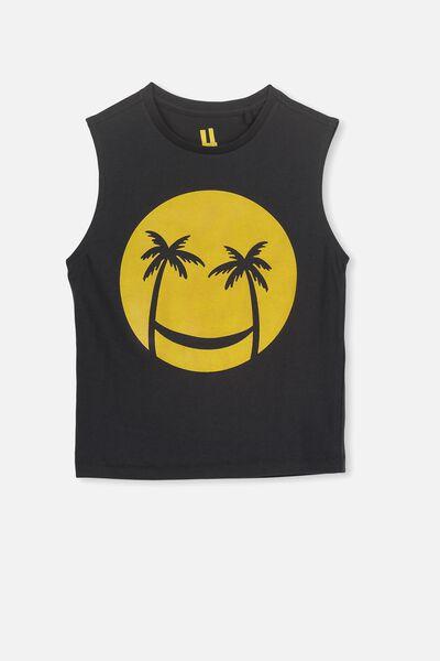 Otis Muscle Tank, VINTAGE BLACK/SMILEY FACE