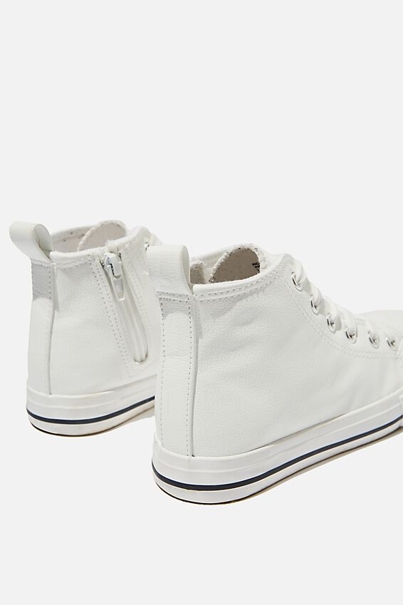 Classic High Top Trainer, WHITE SMOOTH PU