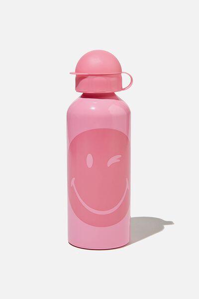 Aluminium Drink Bottle, LCN PINK SMILEY