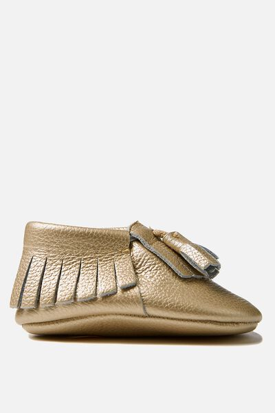 Hadley Leather Tassel Moccasin, GOLD