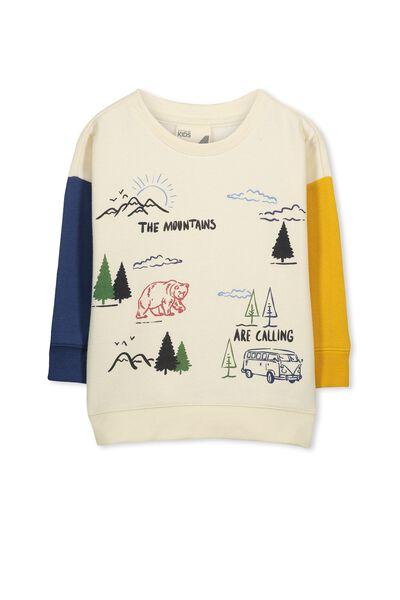 Leon Crew Sweatshirt, EGGNOG/SPLICE/MOUNTAINS