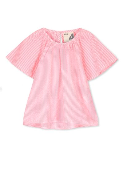 Hadi Top, VANILLA/HIGHLIGHTER PINK STRIPE