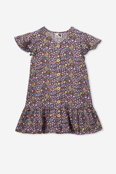 Lola Short Sleeve Dress, VINTAGE NAVY/DITZY FLORAL