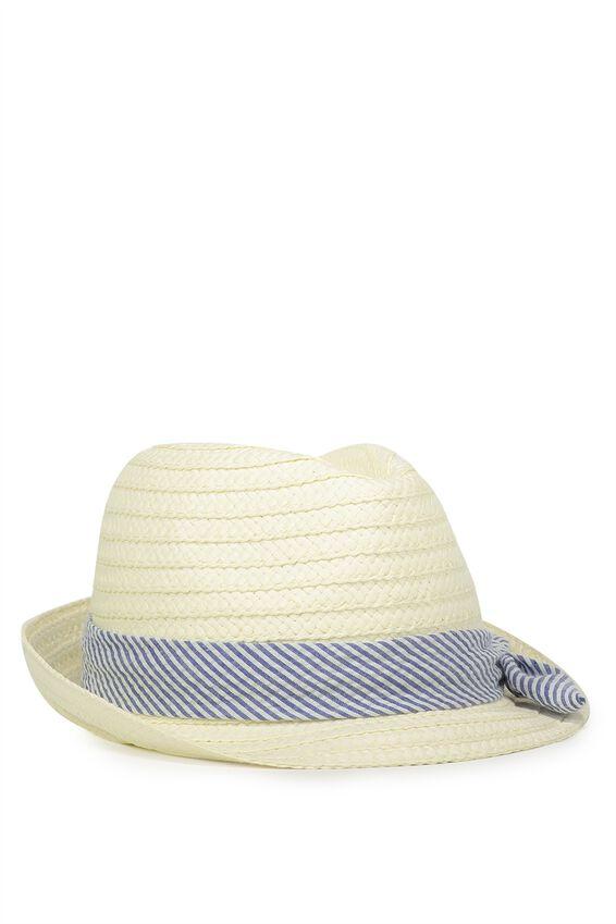 Trilby Hat, SEERSUCKER BLUE
