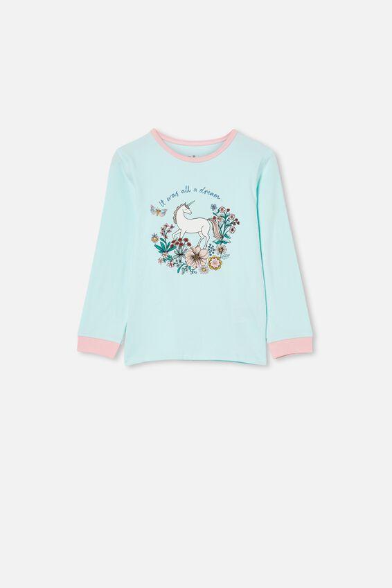 Florence Long Sleeve Pyjama Set, FLORAL UNICORN/DREAM BLUE