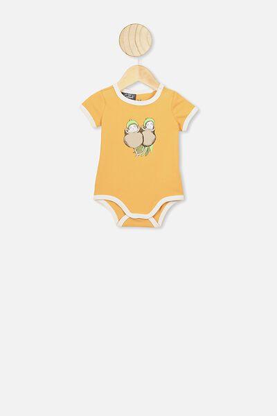 The Short Sleeve Ringer Bubbysuit, LCN MAY VINTAGE HONEY/GUMNUT TWINS