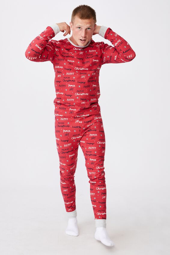 Jo Adults Unisex Long Sleeve Pyjama Set, MERRY CHRISTMAS LUCKY RED