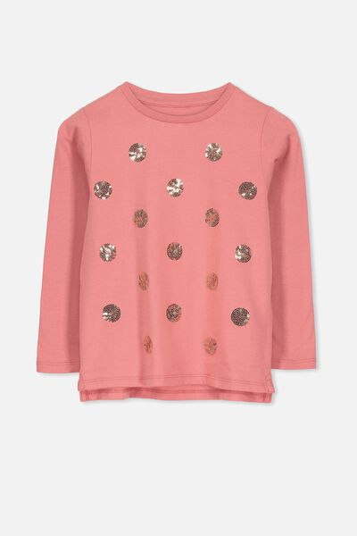 Stevie Ls Embellished Tee, RUSTY BLUSH/SEQUIN SPOTS