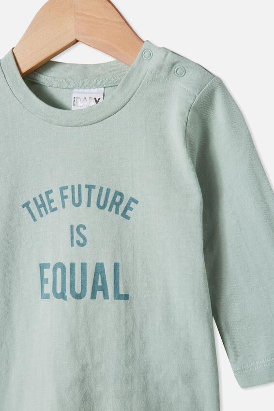 Jamie Long Sleeve Tee, STONE GREEN/FUTURE IS EQUAL