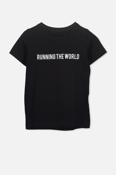 Penelope Short Sleeve Tee, BLACK/RUNNING THE WORLD/MAX