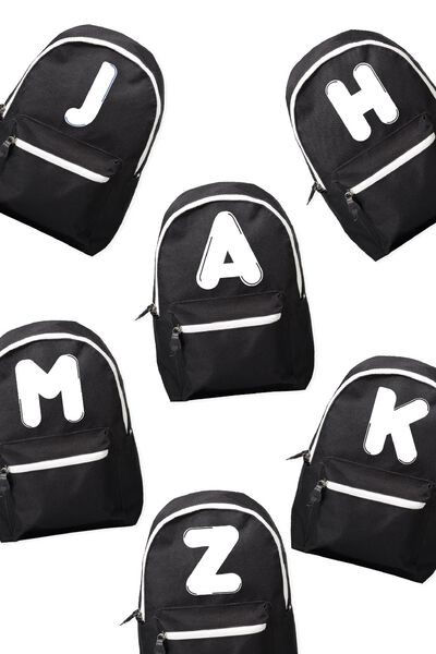 Letter Retro Back Pack, BLACK