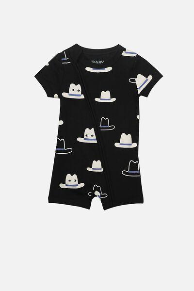 Mini Short Sleeve Zip Through All In One, BLACK/COWBOY HATS