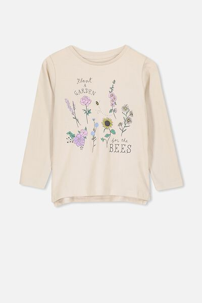 Penelope Long Sleeve Tee, RAINY DAY/PLANT A GARDEN SAVE THE BEES