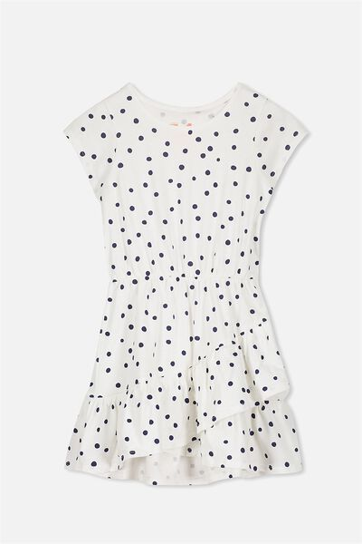 Jessie Short Sleeve Dress, VANILLA/PEACOAT SPOT