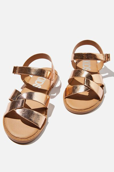 Fisherman Weave Sandal, ROSE GOLD METALLIC