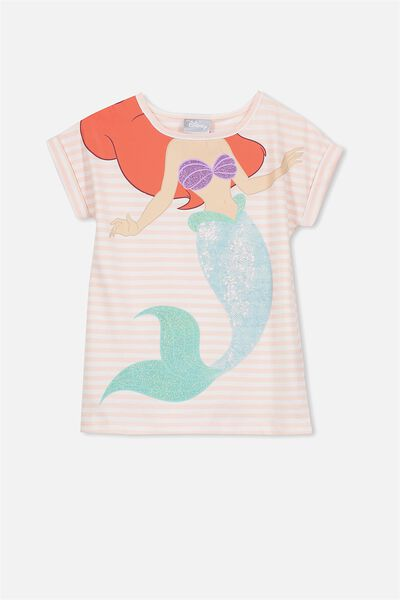 Lux Short Sleeve Retro Tee, ARIEL SEQUIN/SHELL PEACH STRIPE