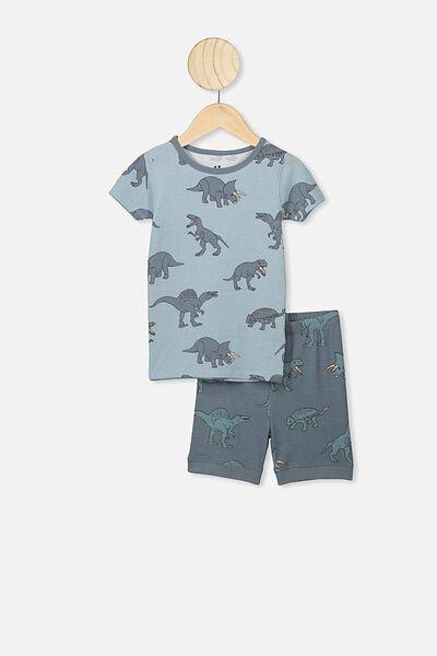Ted Short Sleeve Pajama Set, ETHER/DINO YARDAGE