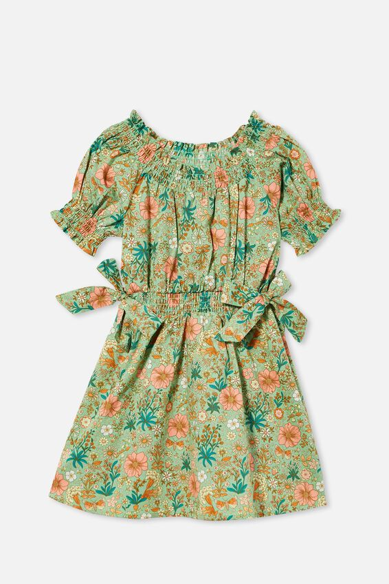 Samira Short Sleeve Dress, SPEARMINT GARDEN FLORAL