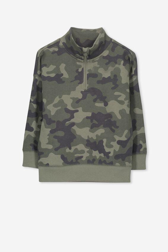 Lachy Crew Sweater, CAMO/ZIP NECK