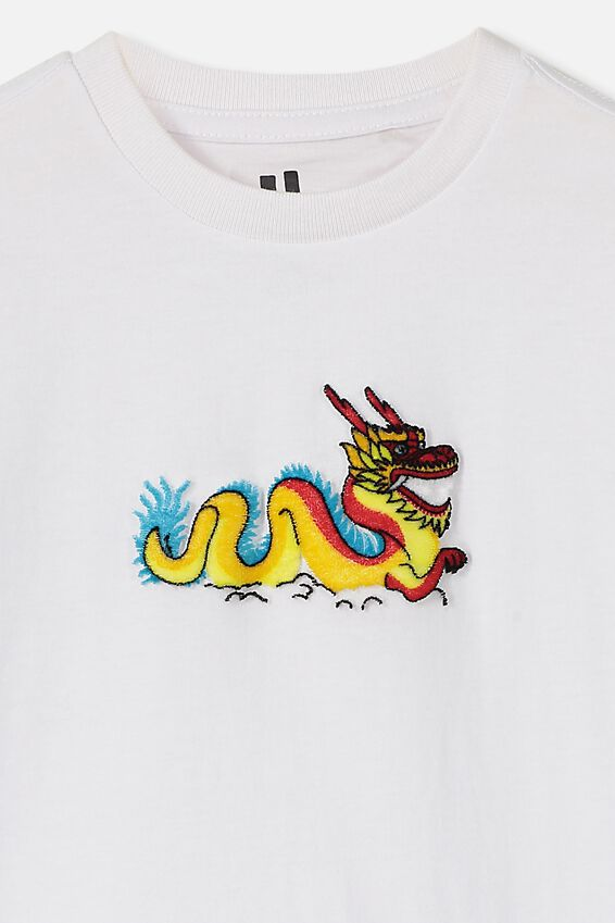 The Downtown Short Sleeve Tee, WHITE/DRAGON